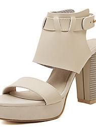 Women's Shoes Chunky Heel Heels Sandals Outdoor Black/Beige