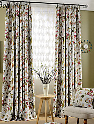 (One Panel) Double Pleated Classic Italy Flower Room Darkening Fabric Curtain Drapes