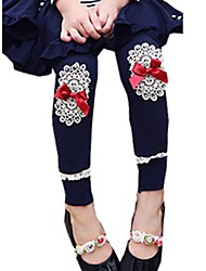 Girl's Spring Fall Lace Embroidered leggings Cotton Pants Party Tights Leggings (Cotton)