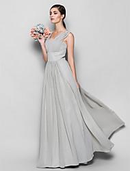 Floor-length Chiffon Bridesmaid Dress - Silver Sheath/Column Square