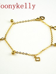 Toonykelly® 24CM Stainless Steel Women Gold Flower Anklet Jewelry (1PC)