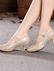 Chaussures de danse(Argent Or) -Non Personnalisables-Talon Cubain-Cuir-Moderne