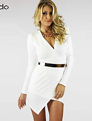 Women's Party Sexy Dress,Solid V Neck Asymmetrical Long Sleeve White / Black Fall