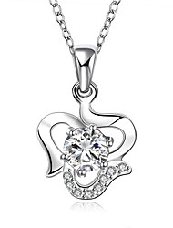Fashion Jewelry 925-Sterling -Silver Creative Flower with Color Zircon Pendant Necklace for Women