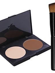 2 Colors Salon Contour Face Powder Cake Makeup Palette+1PCS Makeup Foundation Brushes