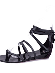 Women's Shoes Faux Leather Flat Heel Gladiator Sandals Casual Black