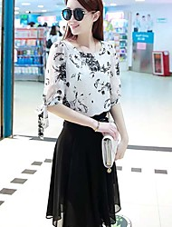 Women's Casual Print A Line Dress , Round Neck Knee-length Chiffon