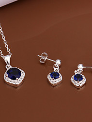 Fashion Round Shape Copper Silver Plated Zircon Foreign Trade Jewewlry Sets(Four Colors)(1Set)