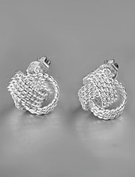 2015 Italy Style Silver Plated Ball Design Stud Earrings for Lady