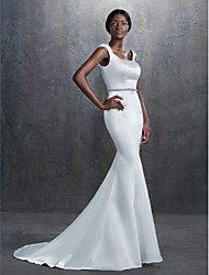 LAN TING BRIDE Trumpet / Mermaid Wedding Dress Simply Sublime Court Train Square Satin with Beading Sash / Ribbon