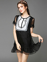 Large size women 2015 summer new perspective gauze beaded dress sexy dress stitching Club Women's CLOTHING