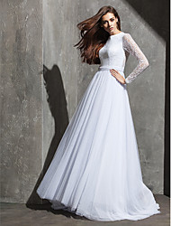 Lanting Bride A-line Petite / Plus Sizes Wedding Dress-Sweep/Brush Train Jewel Lace / Tulle