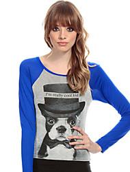 RICHCOCO® Women's Slim Navel Dog Printing Contrast Color Long Sleeve Cotton T-Shirt