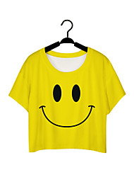 Damen Solide Street Schick / Aktiv Lässig/Alltäglich T-shirt,Rundhalsausschnitt Sommer Kurzarm Gelb Polyester Mittel