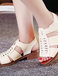 Women's Shoes Chunky Heel Open Toe Sandals Dress White/Beige