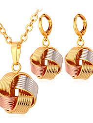 fantaisie nouveaux multi-couleur 3 ton collier de charme de chute oreilles mignonnes fixés en or 18 carats plaqué bijoux pour femmes de