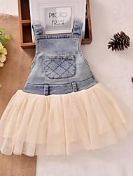 Kid's Beach/Casual/Print/Cute/Party Dress (Cotton/Denim/Mesh)
