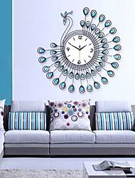 requintado relógio de parede design do pavão moderno - azul + preto