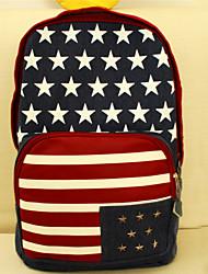 Unisex Backpack Denim All Seasons Outdoor Weekend Bag Zipper Brown Blue
