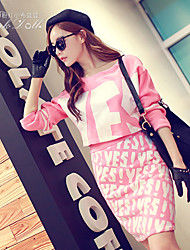 Pink Doll®Women's Casual Print Letter Long Sleeve Short Suits
