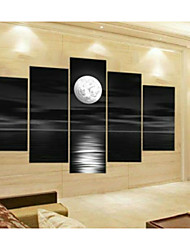 Hand-Painted Abstract Gray Block Seascape Moon Oil Painting on Canvas  5pcs/set Without Frame