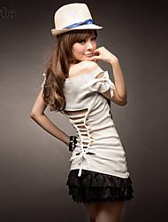 Tee-shirt Aux femmes Ouvert Manches Courtes Bateau Polyester/Mélanges de Coton