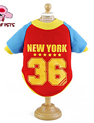 Cat / Dog Coat / Shirt / T-Shirt / Jersey Red / Blue / Pink / Yellow Dog Clothes Spring/Fall Letter & Number / Stars Wedding / Cosplay