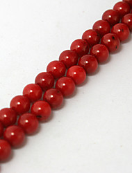 Beadia 38Cm/Str (Approx 63PCS) 6mm Round Red Coral Beads Dyed Red Color Coral Loose Beads DIY Accessories