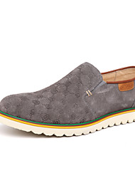 Men's Spring / Summer / Fall / Winter Round Toe Leather Casual Low Heel Slip-on Blue / Brown / Gray
