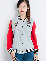 Women's Patchwork Blue/Red Jackets , Casual Stand Long Sleeve Button