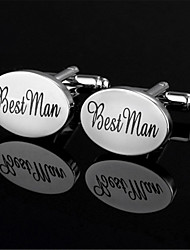 Men's Best Man Groom Bride Oval Black Wedding Shirt Cufflinks