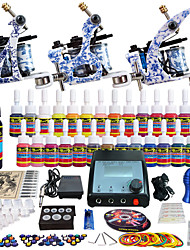 Solong Tattoo Complete Tattoo Kit 3 Pro Machines 28 Inks Power Supply Needle Grips Tips