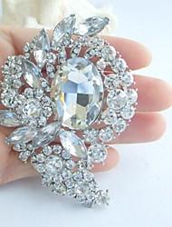 Wedding 3.15 Inch Silver-tone Clear Rhinestone Crystal Flower Bridal Brooch Pendant Art Deco
