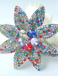 Gorgeous 3.54 Inch Silver-tone Multicolor Rhinestone Crystal Flower Brooch Art Deco Women Jewelry