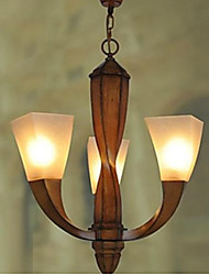 lámparas de araña 3 luces madera cepillada rústico 220v sencilla