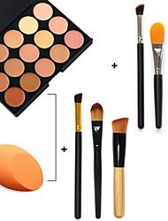 15 couleurs du visage anti-cernes palette + 3pcs maquillage brosses + feuilletée maquillage beauté fondation oeuf (ensembles assortis)