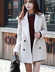Women's Solid Color Blue / White / Black / Orange Coats & Jackets , Casual V-Neck Long Sleeve