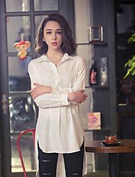 Women's Shirt Collar Shirt , Cotton White Beach/Casual Long Sleeve Long sleeved shirt color