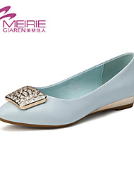 Women's Spring / Fall Pointed Toe / Closed Toe Leatherette Office & Career / Casual Flat Heel Black / Blue / Ivory