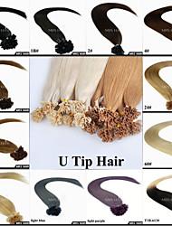 "20"" 0.8g/pc 100pieces Black Brown Blonde Color Pre-Bonded U Tip Hair Extensions Italian Keratin Hair"