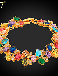 U7® Women's Multicolor Gemstone Bracelet Platinum/Gold Plated Jewelry Prong Setting Oval Cubic Zirconia Tennis Bracelet