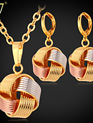 U7® Women's Platinum/18K Gold/Rose Gold Multi-Tone Gold Plated Fancy Ball Drop Earrings Pendant Necklace Set