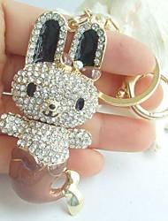 Charming Rabbit Fish Key Chain With Clear Rhinestone Crystals