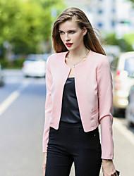 Women's Long Sleeve Blazer , Spandex/Cotton Blends Short Casual/Work