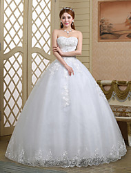 Ball Gown Wedding Dress Lacy Look Floor-length Sweetheart Lace Tulle with Crystal Embroidered Flower Lace Sequin