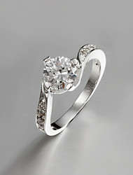 Italy S925 Silver Plated Ring Wholesale Price Fashion Jewelry Ring with Zircon
