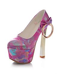 Calçados Femininos - Saltos - Saltos / Bico Fechado - Salto Agulha - Azul / Rosa / Vermelho / Branco - Courino -Social / Casual / Festas