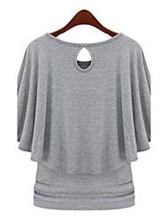 Ihålig/Volang Kortärmad T-shirt Kvinnors Rund hals Bomull