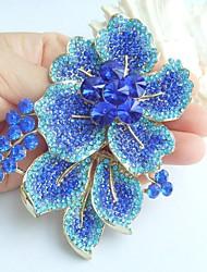 Gorgeous 3.54 Inch Gold-tone Blue Rhinestone Crystal Flower Brooch Art Decorations