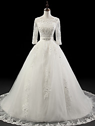 Ball Gown Wedding Dress - White Chapel Train Jewel Organza